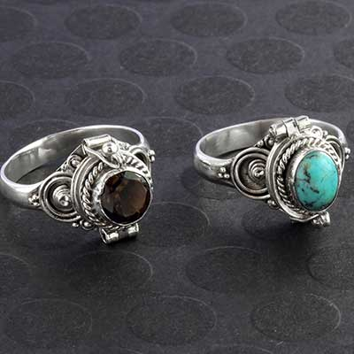 Silver and Ornate Circles Poison Ring