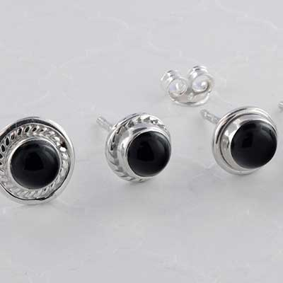 Silver and Black Onyx Earring Studs