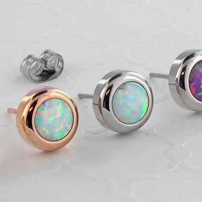 Synthetic Opal Stud Earrings