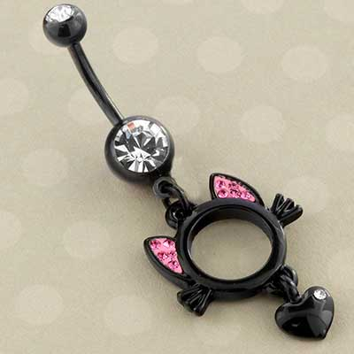 Black Cat Love Dangle Navel