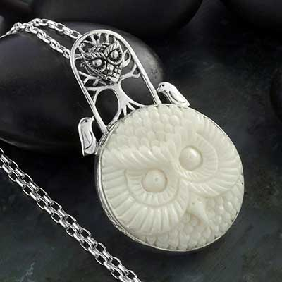 Bone and Silver Owl Necklace