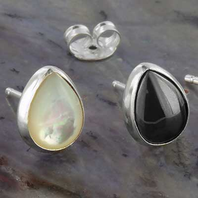 Teardrop Stone Stud Earrings
