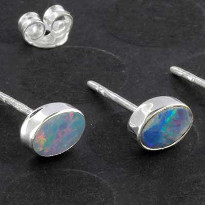 Australian Opal Oval Stud Earrings