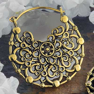 Brass Bloom Mandala Hoops
