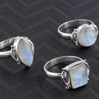 Silver and Embellished Rainbow Moonstone Ring