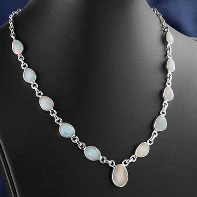 Ehiopian Opal and Silver Necklace