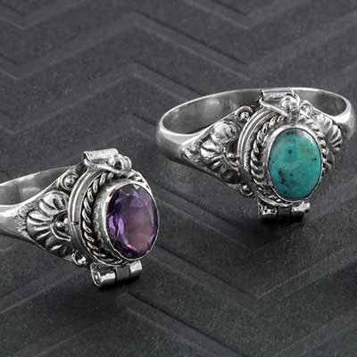 Silver and Floral Poison Ring
