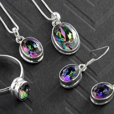 Silver and Faceted Oval Mystic Quartz Jewelry