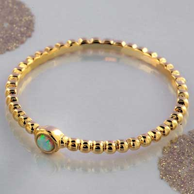 Synthetic Opal Beaded Band Ring