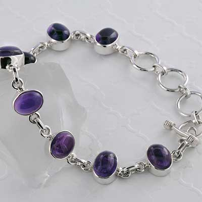 Silver and Oval Amethyst Bracelet