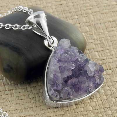 Silver and Amethyst Druzy Necklace