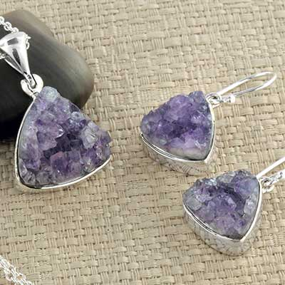 Silver and Amethyst Druzy Jewelry