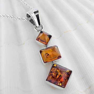Geometric Amber and Silver Necklace