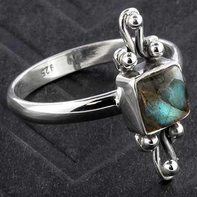 Silver and Labradorite Framed Ring