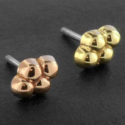 14k Gold 4 Bead Cluster Threadless End