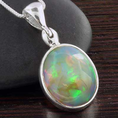 Silver and Ethiopian Opal Necklace