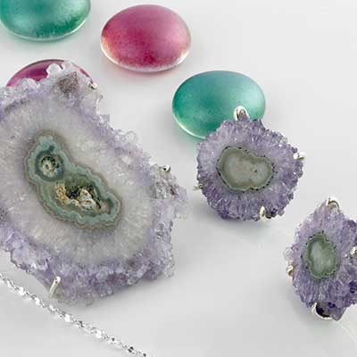 Silver and Amethyst Stalactite Jewelry