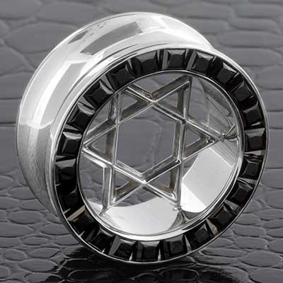 Steel Princess Cut Eyelet with Silver Star of David