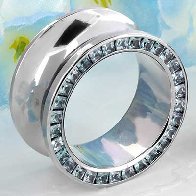 Titanium Princess Cut Gemmed Eyelet (Aquamarine)