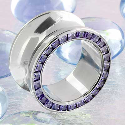 Titanium Princess Cut Gemmed Eyelet (Tanzanite)