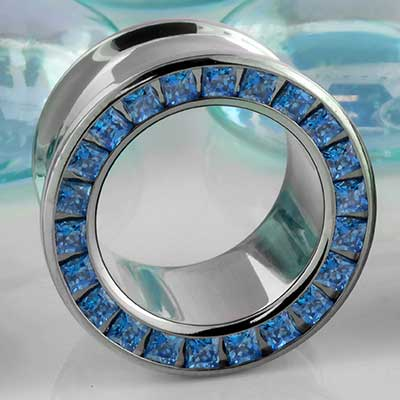 Titanium Princess Cut Gemmed Eyelet (Arctic Blue)