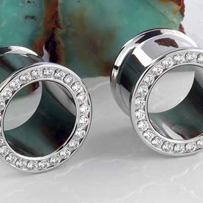 Steel Gemmed Eyelet (Cubic Zirconia)