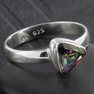 Silver and Mystic Quartz Triangle Ring
