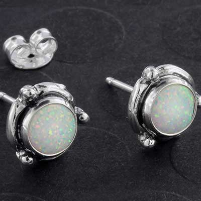 Framed Synthetic Opal and Silver Earring Studs