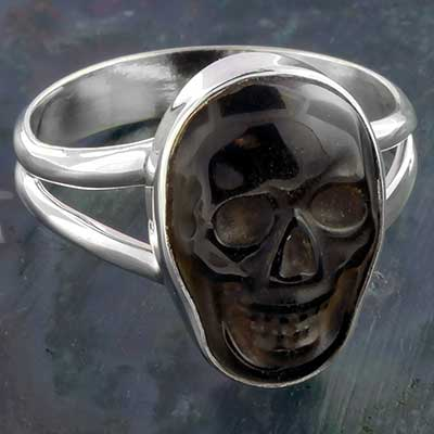 Silver and Golden Obsidian Skull Ring