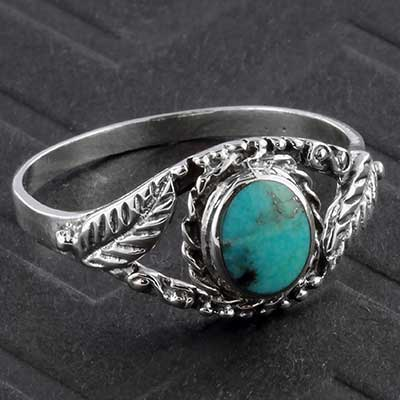 Silver and Turquoise Leaf Ring