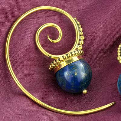 Brass and Lapis Spiral Design