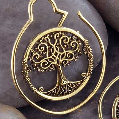 Brass Tree of Life Hoops