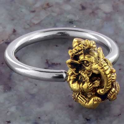 Steel Captive with Brass Ganesha Bead