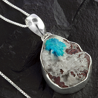 Cavansite Druzy and Silver Necklace