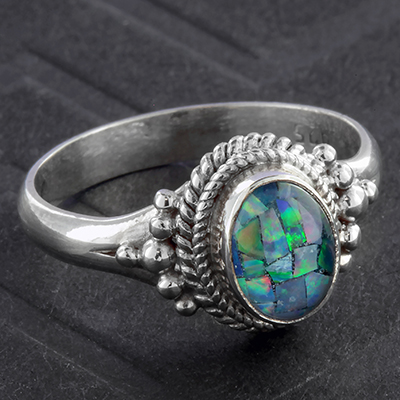 Silver and Synthetic Blue Opal Ring