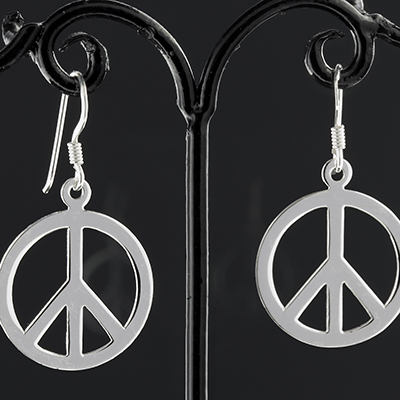 Silver Peace Dangle Earrings