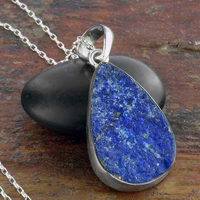 Rough Lapis and Silver Necklace