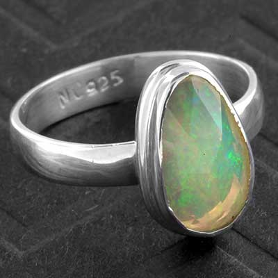 Silver and Faceted Ethiopian Opal Ring
