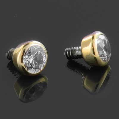 14k Gold Bezel Set Threaded End