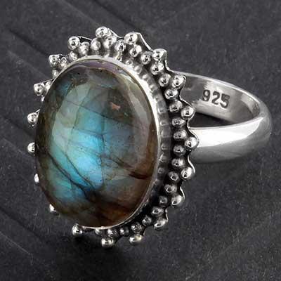 Silver and Labradorite Sunburst Ring