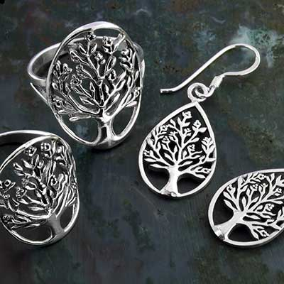 Silver Blooming Tree Jewelry Design