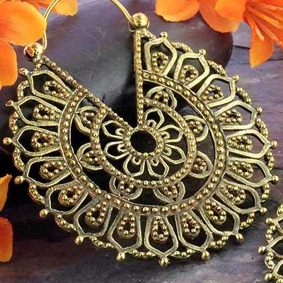 Brass Sun Blossom Hoops