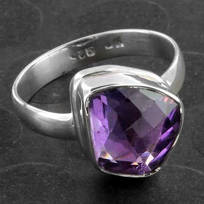 Silver and Faceted Amethyst Ring