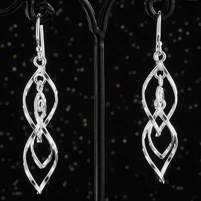 Silver Twisted Dangle Earrings