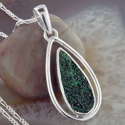 Uvarovite and Silver Necklace