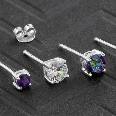Silver Round Gem Stud Earrings