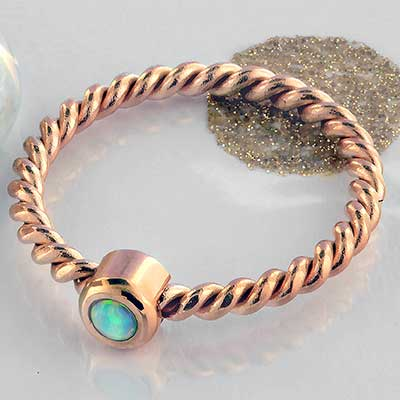 Synthetic Opal Rope Band Ring