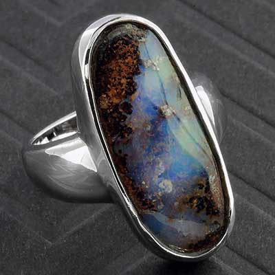 Silver and Genuine Boulder Opal Ring