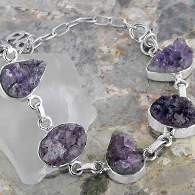 Silver and Amethyst Druzy Bracelet