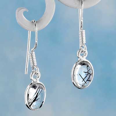 Silver and Tourmalated Quartz Earrings